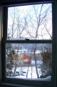 The office looks out over the Winooski River, and the view changes with the seasons