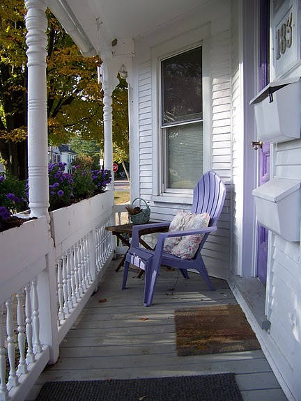 The front porch gets morning sun and afternoon shade for summer comfort